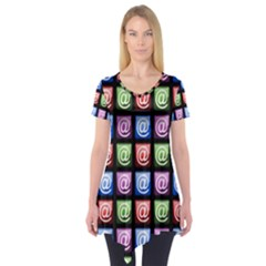 Email At Internet Computer Web Short Sleeve Tunic