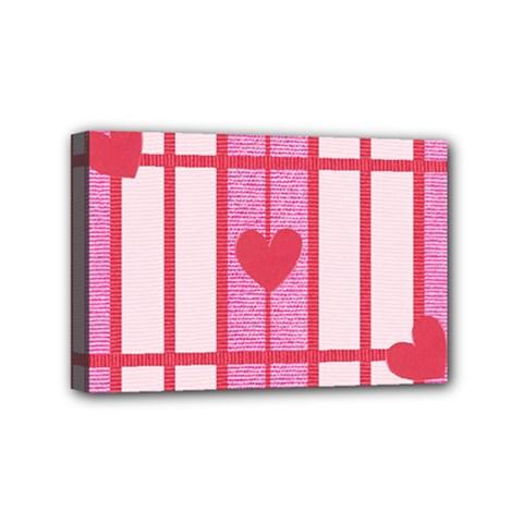 Fabric Magenta Texture Textile Love Hearth Mini Canvas 6  X 4