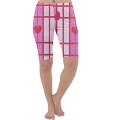 Fabric Magenta Texture Textile Love Hearth Cropped Leggings