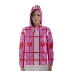 Fabric Magenta Texture Textile Love Hearth Hooded Wind Breaker (Women)