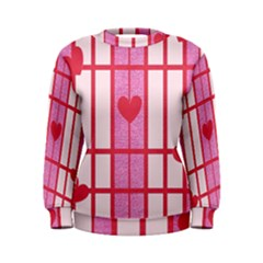 Fabric Magenta Texture Textile Love Hearth Women s Sweatshirt