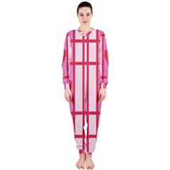 Fabric Magenta Texture Textile Love Hearth OnePiece Jumpsuit (Ladies)