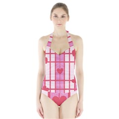 Fabric Magenta Texture Textile Love Hearth Halter Swimsuit