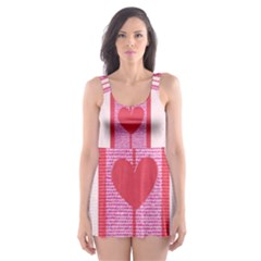 Fabric Magenta Texture Textile Love Hearth Skater Dress Swimsuit