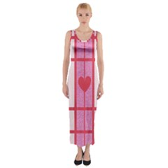 Fabric Magenta Texture Textile Love Hearth Fitted Maxi Dress