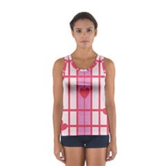 Fabric Magenta Texture Textile Love Hearth Women s Sport Tank Top