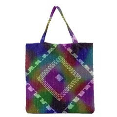 Embroidered Fabric Pattern Grocery Tote Bag
