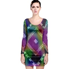 Embroidered Fabric Pattern Long Sleeve Bodycon Dress