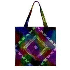 Embroidered Fabric Pattern Zipper Grocery Tote Bag