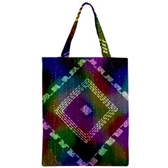 Embroidered Fabric Pattern Zipper Classic Tote Bag