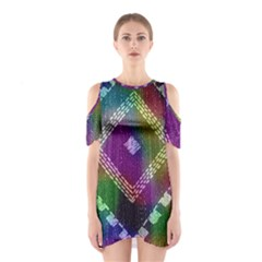 Embroidered Fabric Pattern Shoulder Cutout One Piece