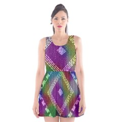 Embroidered Fabric Pattern Scoop Neck Skater Dress