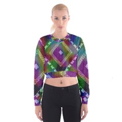 Embroidered Fabric Pattern Women s Cropped Sweatshirt