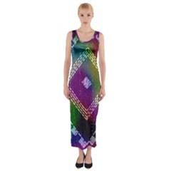Embroidered Fabric Pattern Fitted Maxi Dress