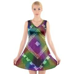 Embroidered Fabric Pattern V Neck Sleeveless Skater Dress