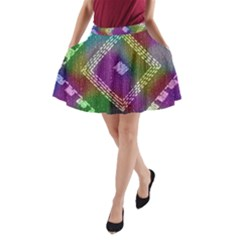 Embroidered Fabric Pattern A-Line Pocket Skirt