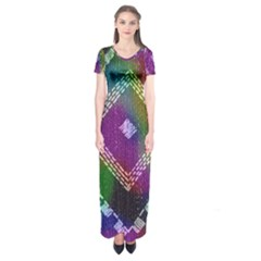 Embroidered Fabric Pattern Short Sleeve Maxi Dress
