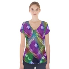 Embroidered Fabric Pattern Short Sleeve Front Detail Top