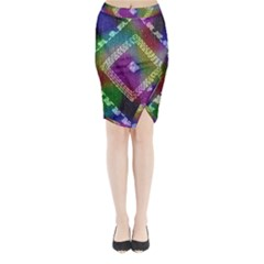 Embroidered Fabric Pattern Midi Wrap Pencil Skirt
