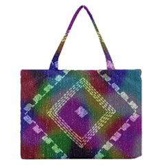 Embroidered Fabric Pattern Medium Zipper Tote Bag