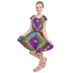 Embroidered Fabric Pattern Kids  Short Sleeve Dress