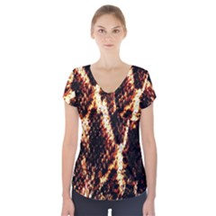 Fabric Yikes Texture Short Sleeve Front Detail Top