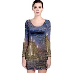 Dubai Long Sleeve Velvet Bodycon Dress