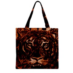 Eye Of The Tiger Zipper Grocery Tote Bag
