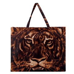 Eye Of The Tiger Zipper Large Tote Bag