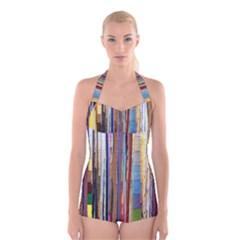 Fabric Boyleg Halter Swimsuit