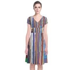 Fabric Short Sleeve Front Wrap Dress