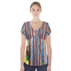 Fabric Short Sleeve Front Detail Top