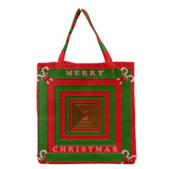 Fabric 3d Merry Christmas Grocery Tote Bag