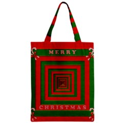 Fabric 3d Merry Christmas Zipper Classic Tote Bag