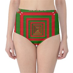 Fabric 3d Merry Christmas High Waist Bikini Bottoms