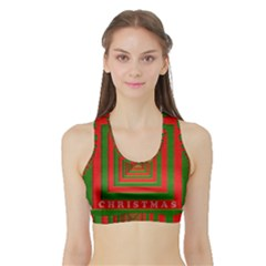 Fabric 3d Merry Christmas Sports Bra With Border