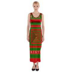 Fabric 3d Merry Christmas Fitted Maxi Dress