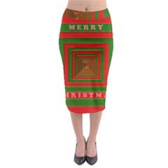 Fabric 3d Merry Christmas Midi Pencil Skirt