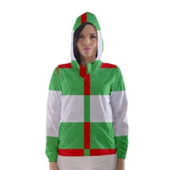 Fabric Christmas Colors Bright Hooded Wind Breaker (Women)