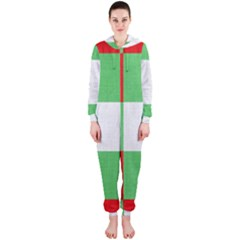 Fabric Christmas Colors Bright Hooded Jumpsuit (ladies)