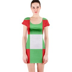 Fabric Christmas Colors Bright Short Sleeve Bodycon Dress