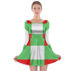Fabric Christmas Colors Bright Long Sleeve Skater Dress
