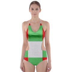 Fabric Christmas Colors Bright Cut Out One Piece Swimsuit