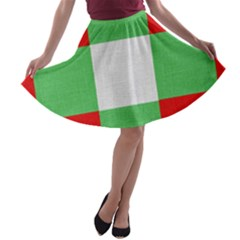Fabric Christmas Colors Bright A-line Skater Skirt