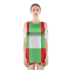 Fabric Christmas Colors Bright Shoulder Cutout One Piece