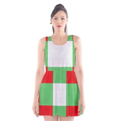 Fabric Christmas Colors Bright Scoop Neck Skater Dress