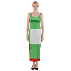 Fabric Christmas Colors Bright Fitted Maxi Dress
