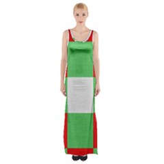 Fabric Christmas Colors Bright Maxi Thigh Split Dress