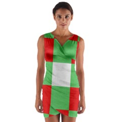 Fabric Christmas Colors Bright Wrap Front Bodycon Dress