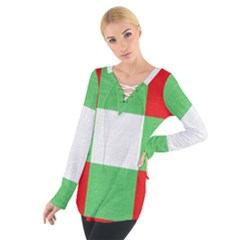 Fabric Christmas Colors Bright Women s Tie Up Tee